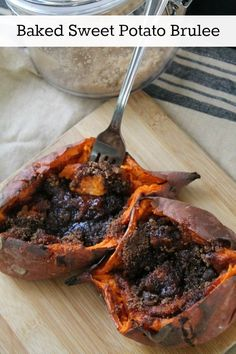 A baked sweet potato gets topped with brown sugar and spices then put under the broiler to form a sweet, crunchy crust. It's the world's easiest dessert.