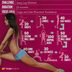 Sexy Legs Workout: 15 minute workout for leg and core muscular endurance. Squats, Lunges, Calf Raises