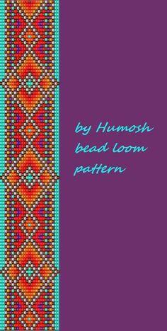 ethnic bead loom pattern by Humosh on Etsy Loom Bracelet Patterns, Seed Bead Patterns, Bead Loom Bracelets, Beaded Jewelry Patterns, Weaving Patterns, Bead Loom Designs, Tear, Peyote Beading, Bead Jewellery