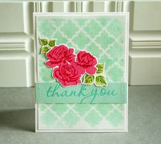 Mixing Mists To Match Challenge - Thank You Card (Masked Misting) by Danielle Flanders for Papertrey Ink (August 2013)