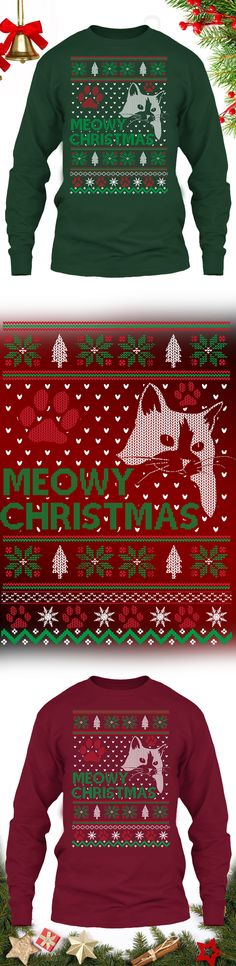 Meowy Cat Christmas Sweater - Get this limited edition ugly Christmas Sweater just in time for the holidays! Click to buy now!