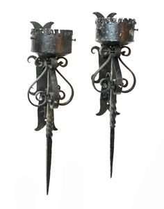 Antique French Chandeliers Wall Sconces European Lighting Home Decor $750.00 http://www.pariscoutureantiques.com/item_3046/Pair-Hand-Forged-Wrought-Iron-Wall-Sconces.htm Gothic French country black wrought iron metal castle
