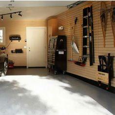 Garage Organization -  HandiWall™ Slat Wall System Taupe Finish By Garage Solutions | KitchenSource.com  #kitchensource #pinterest #followerfind