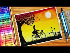 How to DRAW a girl riding bicycle landscape sunset drawing using oil pastels step by step - Gerrie Johnston Oil Pastel Drawings Easy, Oil Pastel Paintings, Oil Pastel Art, Unique Drawings, Colorful Drawings, Easy Drawings, Ride Drawing, Bicycle Drawing, Canvas Art Projects