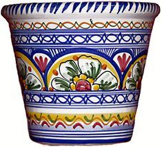 You searched for flower pot - From Spain - Spanish ceramic tableware Painted Clay Pots, Hand Painted Ceramics, Talavera Pottery, Ceramic Pottery, Pottery Painting, Ceramic Painting, Ceramic Tableware, Ceramic Planters, Spanish Style Decor