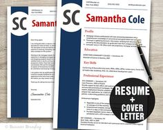PROFESSIONAL Resume Template  Instant Download by BusinessBranding, $15.00