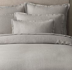 Relaxed Pinstripe Washed Cotton-Linen Duvet Cover