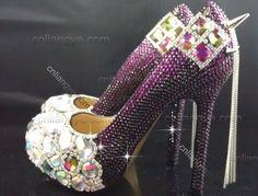 NEW SPIKES with SWAROVSKI CRYSTAL HIGH HEEL PUMPS PLATFORM Evening Party Shoes  Purple Wedding Shoes c9d357000186