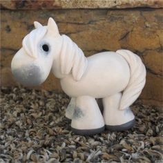white / gray painted clay horse by SpottedHorseKorral on Etsy