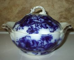 flow blue covered butter dish | Flow Blue Covered Butter Dish Keeper Container England Victorian ...
