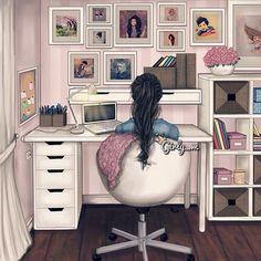 Girly_ m Illustration Girl Cartoon, Cute Cartoon, Cartoon Art, Sarra Art, Illustration Art, Illustrations, Girly Drawings, Cute Girl Wallpaper, Anime Art Girl