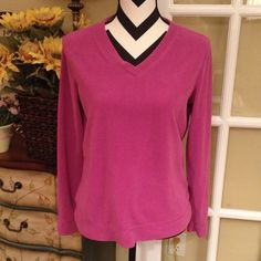 Purple pink v neck fleece top Activewear Great top for lounging around, or wear after a workout! Purple pink soft stretchy fleece! Polyester St. John's Bay Tops