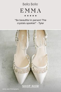 Wedding shoes that are prettier in person? Yes please! Bella Belle Emma has the most beautiful silver crystal embellishment on a bed of comfortable ivory heel.