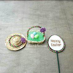 We designed this adorable Easter set to perfectly match together, celebrate the season and capture the sunny spirit of spring! The woven hat is is accented with a sparkly pink and green braided ribbon adorned with a glittery purple flower. The woven basket has bright green Easter