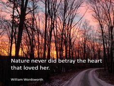 Nature never did betray the heart that loved her.?