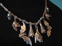 Items similar to Magnificent 7 Bat Necklace with Skulls in Sterling Silver Halloween on Etsy Goth Jewelry, Jewelry Art, Jewelery, Jewelry Accessories, Jewelry Design, Jewellery Box, Bling Bling, Cowgirl Bling, Magnificent 7