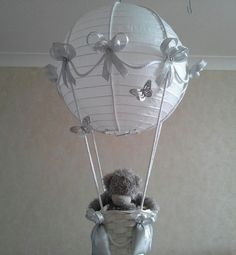 Baby Lamp Shades Nursery Round White Silver Ribbon And Butterflies Pattern Beautiful Papers Lamp Shades Grey Soft Cute Wool Teddy Bear Baby Future Night Hot Baby 2 Nursery