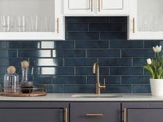 Kitchen Remodel Discover La Belle Antique Blue Polished Ceramic Tile - 3 x 12 - 100507706 Blue Backsplash, Backsplash Ideas For Kitchen, Backsplash Design, Floor Decor, Küchen Design, Design Styles, Design Ideas, Kitchen Colors, Blue Kitchen Tiles
