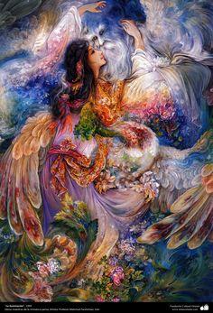 """""""La iluminación"""", 1994, Obras maestras de la miniatura persa; M. Farshchian, Irán.jpg (2589×3810)"""