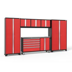 NewAge Products Bold Series 3 W x H Deep Red Steel Garage Storage System at Lowe's. Upgrade the look and organization of your garage with the Bold Series. Built with heavy-duty steel frames for extra-strength, these cabinets are ideal Adjustable Height Workbench, Adjustable Shelving, Garage Cabinets, Base Cabinets, Shop Cabinets, Storage Sets, Hanging Storage, Used Lockers, Bold 3