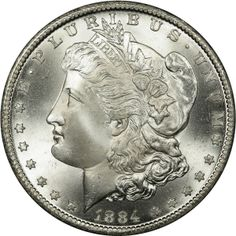 Obverse of 1884-CC Morgan Silver Dollar