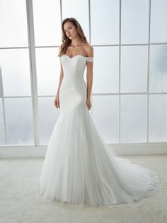 White One mermaid, off-the-shoulder gown. Wedding Dress shopping - advice and what to expect