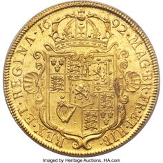 "Great Britain, Great Britain: William & Mary gold ""Elephant & Castle"" 5Guineas 1692 MS63 PCGS,..."