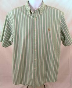 Ralph Lauren Men's Size XL Short Sleeve 100% Cotton Striped Shirt #RalphLauren #ButtonFront