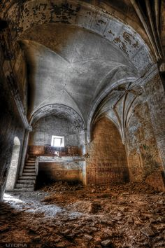 Interior of abandoned church, Rioja, Spain.     Photo by UTOPIA_d400, via Flickr - Interior of an abandoned church in Rioja,Spain called The Church of Alfara.