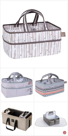 WE-WIN Baby Windel Caddy Tote Portable Nappy Basket Stroller Organizer Diaper Storage Bin for Car Travel-Gray