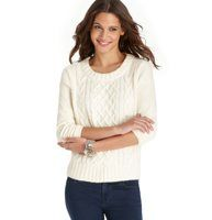 Mixed Cable Knit Terry Top - This is what happens when a preppy cable sweater falls in love with a cozy terry top: a fabulously comfy (and cute) match made in heaven. Jewel neck. 3/4 sleeves. Drop shoulders. Cable knit front panel. Terry sleeves and back. Ribbed cuffs and hem.