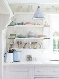 Cottage kitchen shelves.