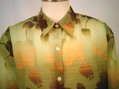 New Alfred Dunner Women's Size 16 Green See Through Button Up Shirt #AlfredDunner #Blouse #Casual