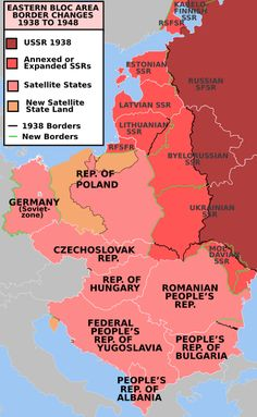 EasternBloc - World War II - Wikipedia, the free encyclopedia \ Post-war Soviet territorial expansion; resulted in Central European border changes, the creation of a Communist Bloc, and start of the Cold War Ap World History, European History, Family History, British History, Ancient History, American History, Native American, History Facts, Poland Germany