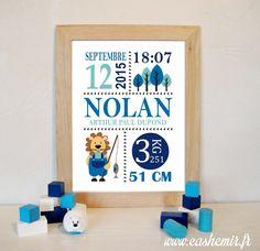 Cadeau naissance, stats de naissance, décoration chambre bébé garçon - Fichier Imprimable - n°4 lion : Décoration pour enfants par cashemir