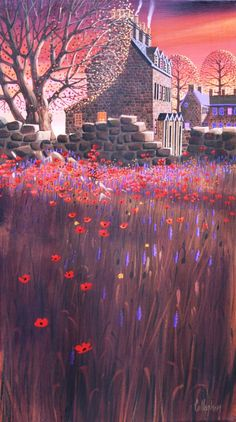 """Gable End Poppies"" George Callaghan Art Is Dead, Cityscape Art, Irish Art, Witch Art, Inspirational Artwork, Naive Art, Art For Art Sake, Pictures To Paint, Art And Architecture"