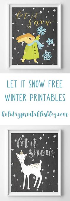 Free Winter Printable Art | Chalkboard Printables | Let it Snow Free Printables | Vintage Deer | Snow
