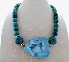 Big bold necklace blue quartz pendant necklace green chunky