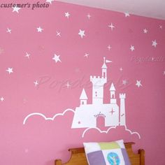 The Castle of the Princess - Children Wall Decals for Girls Murals Stickers Wall Decor via Etsy