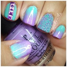 """modnails:    Purple is OPI's """"Do You Lilac It""""Teal is China Glaze's """"For Audrey""""  Studs are from www.dollarnailart.comGradient nails tutorial you can use:http://www.youtube.com/watch?v=2OAvvtPEsng  Caviar nails tutorial you can use:http://www.youtube.com/watch?v=FP4et4Pt_HQ"""