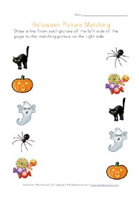 printable halloween picture matching
