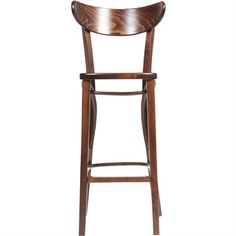 Modena Polish Made Commercial Grade Solid Beech Timber Bar Stool - Walnut