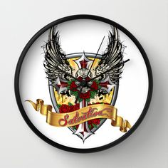 ART IS SALVATION Wall Clock by Angel Torres - $30