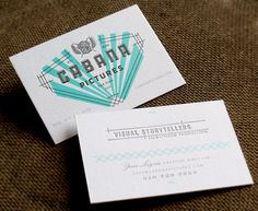 Letterpress Identity Business Cards {reminds me of art deco style / love the colors} // Funnel : Eric Kass (Cabana Pictures)