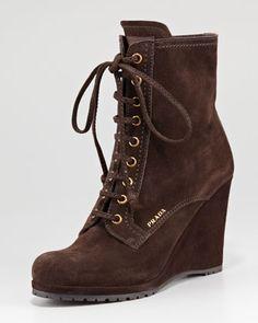 Prada Lace-Up Zip Suede Wedge Boot - Neiman Marcus