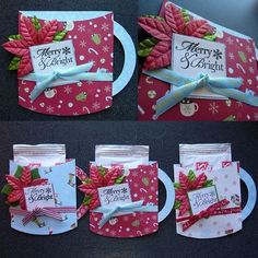 "Mug Pocket Cards Tutorial by Aly Dosdall. Doing this for one of our mailmen. Our clinic box doesn't have an outgoing ""box"" just a slot, so my gift won't fit, but I can make a card that holds coco and that is cute"