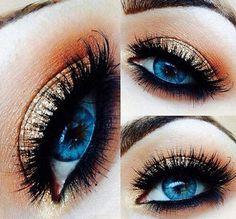 Hoe je make-up voor blauwe ogen rockt – Easy-up zelfstudies en ideeën How to rock makeup for blue eyes – Easy-up tutorials and ideas, [. Rock Makeup, Gold Eye Makeup, Male Makeup, Skin Makeup, Makeup Tips, Makeup Ideas, Makeup Tutorials, Gold Eyeshadow, Makeup Eyeshadow