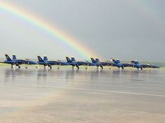 Now you know exactly what's at the end of the rainbow - Blue & Gold jets! Great shot captured by our own Blue Angel Maintenance Chief Bruce Kunkel early Saturday morning. Go Navy, Go Blue, Army & Navy, Blue Gold, Blue Angels Air Show, Us Navy Blue Angels, Angel Pictures, Great Pictures, Military Jets