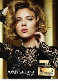 "I love what I can see of this dress, with the black lace and long sleeves. Scarlett Johansson for Dolce & Gabbana ""The One"" fragrance."