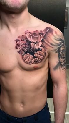 Chest tattoo by Dan 👌🏻🔥- Chest tattoo by Dan 👌🏻🔥 . Contact us for bookings and enquiries🤓 . 📧 holytrinitytattoo… 📱Call us on 07963606034 . Dope Tattoos, Cool Chest Tattoos, Forarm Tattoos, Chest Piece Tattoos, Tattoos Arm Mann, Pieces Tattoo, Best Sleeve Tattoos, Forearm Tattoo Men, Tattoo Sleeve Designs